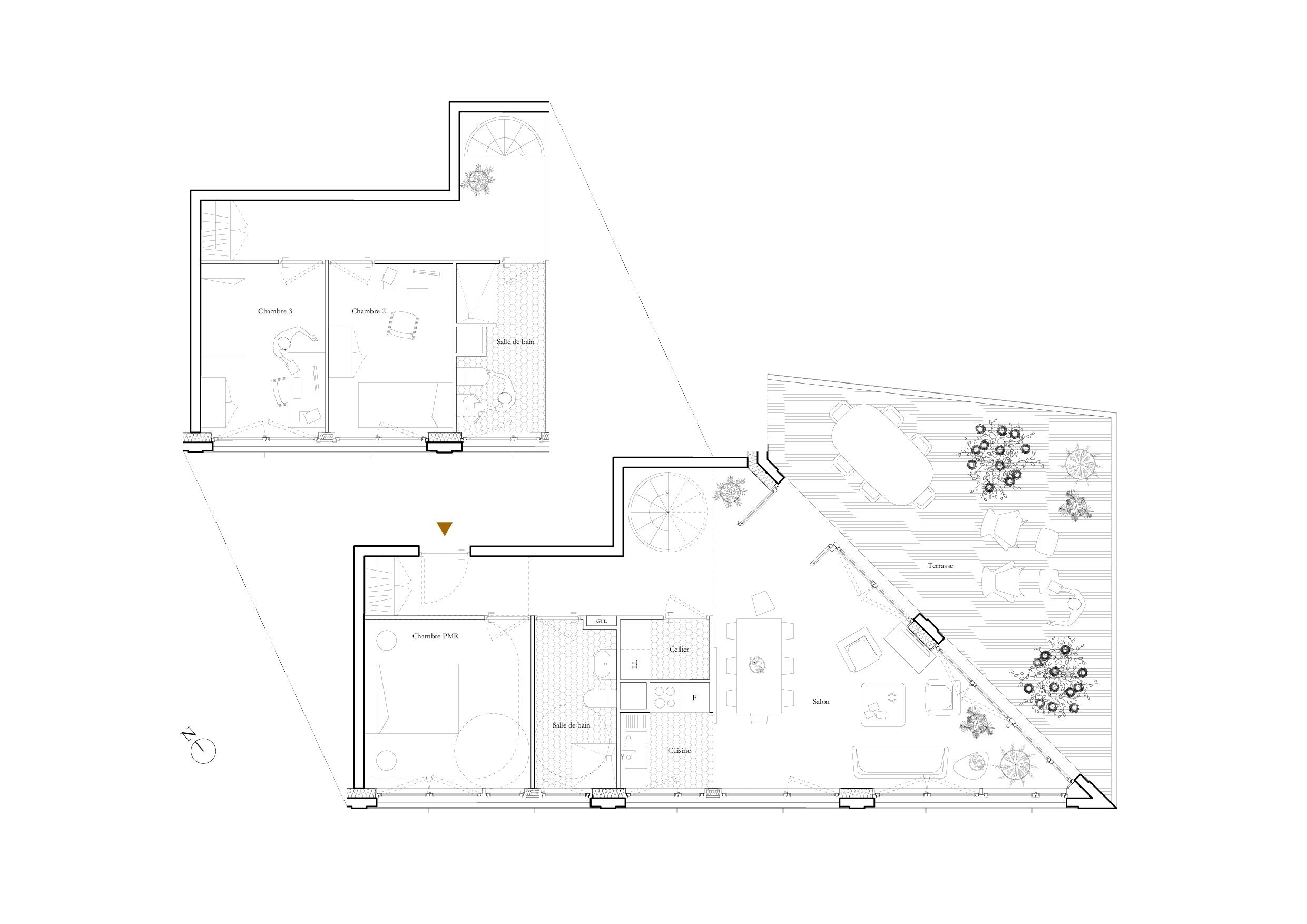 Salle De Bain Pmr Plan ~ plan maison t2 gallery of plan de maison with plan maison t2